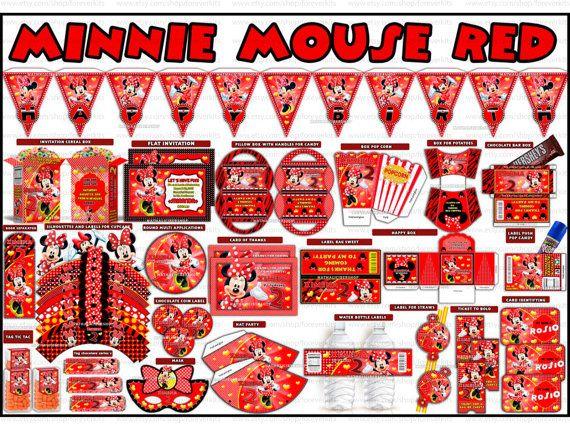 Minnie Red stampabile Kit decorazione festa invito di foreverkits