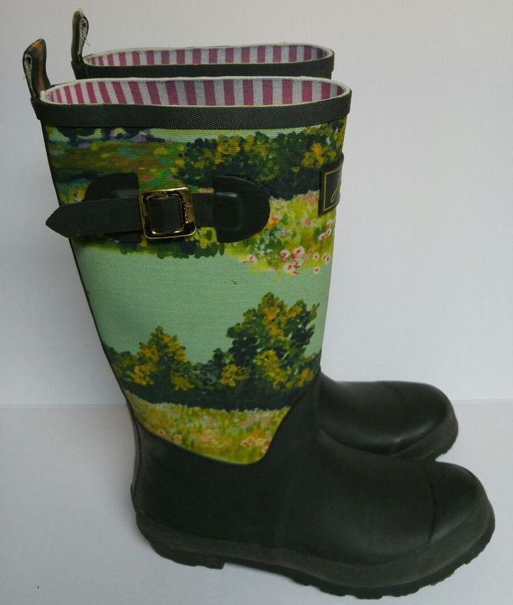 Joules Rain Boots Wellies Muck Pull On Green Watercolor Floral Women's 9 UK 41 #Joules #Rainboots