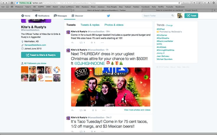 This is a screenshot of my Twitter page. In this picture you can see how easy it was for me to search a local bar in aggiville and see their most recent deals and or promotions at the touch of a button. Twitter is just one of the many social media outlets used by businesses to help increase profit and makes a great marketing tool to relate to the younger generation of customers.