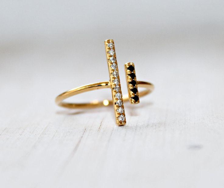 Diamond T Ring Parallel Bar Τ Ring Geometric Gold Ring