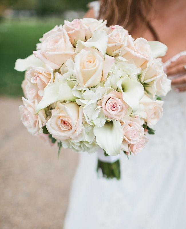Pale pink roses with white hydrangeas and mini calla ...