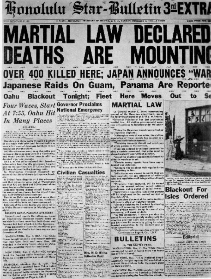 Hawaii under martial law was like 'military dictatorship' (1941-1944) ▪ Front page of the Honolulu Star-Bulletin, declaring martial law in Hawaii, Dec. 7, 1941. (Courtesy of the Hawaii War Records Depository hwrd2174-10b, Archives & Manuscripts Department, University of Hawaii at Manoa Library)