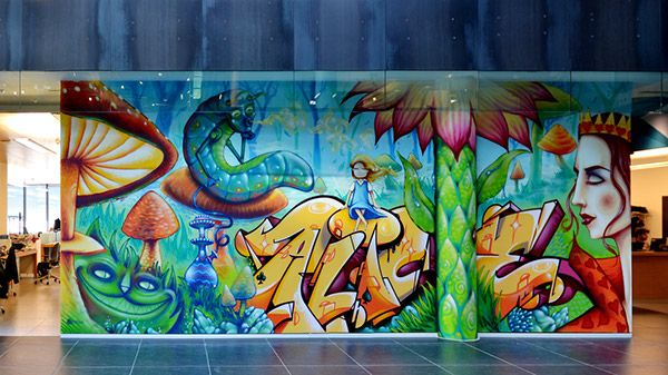 We painted this conceptual Alice in Wonderland mural at VF headquarter offices in Switzerland.