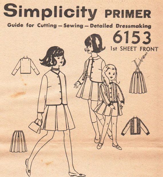 Vintage meisjes Chanel Trim jas patroon rok-patroon door TheOldLeaf