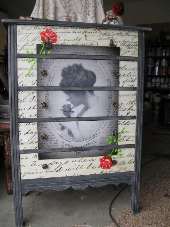 Decoupage Dresser Antique Dresser Chest Of Drawers With Vintage Poster Drawer