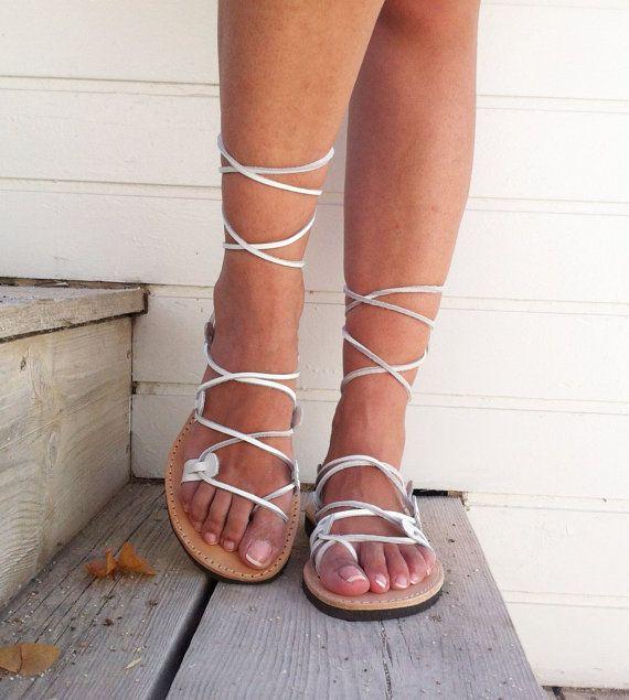 Gladiator Sandalen, weiße Sandalen, Sandalen, Leder Sandale, Hochzeit Spitzen bis Sandale