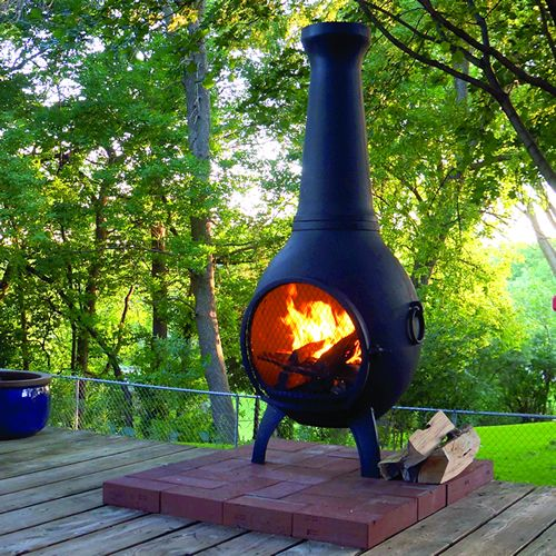 Solid cast aluminum construction with stainless steel hardware, fasteners, and mouth screen, the Prairie Chiminea is built to last.       thebluerooster.com