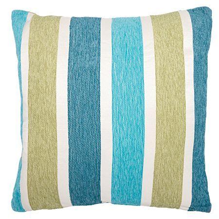 Living & Co Cushion Chenille Stripe Teal/Aqua 43cm x 43cm