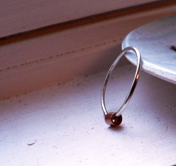 One Simply Skinny Spinnerette Rustic Organic Ring - copper and sterling! by TheLovelySmith, $18.00