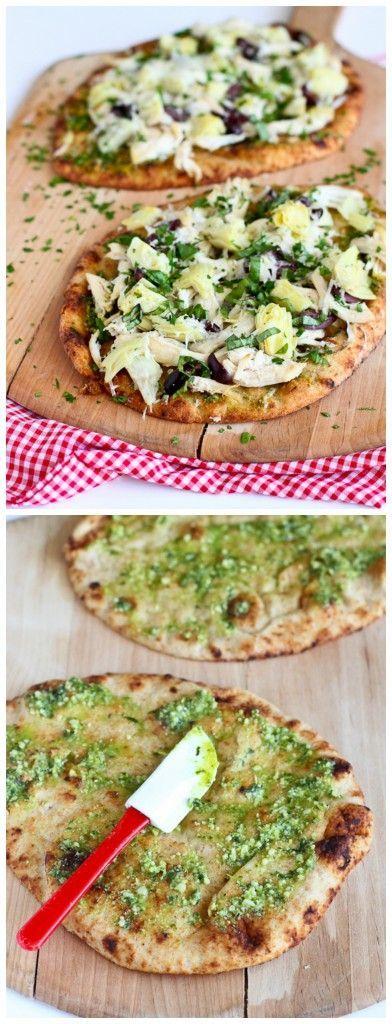 30 Minute Chicken Pesto Artichoke Naan Pizza -- 290 calories #healthy #chicken #recipe