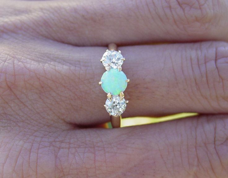 Seafoam and Diamonds. I LOVE this.: Opals Rings, Vintage Wardrobe, Diamonds Rings, Dragon Breath Rings, Vintage Antiques, Wedding Rings, Dreams Rings, Antiques Opals, Engagement Rings