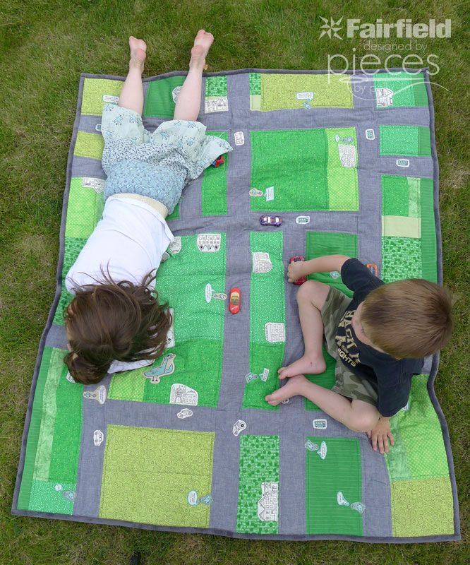 """Free Quilt Tutorial:  Driving Quilt for kids that love cars.  It's even cooler with """"The Pigeon"""" fabrics to go with """"Don't Let the Pigeon Drive the Bus."""""""