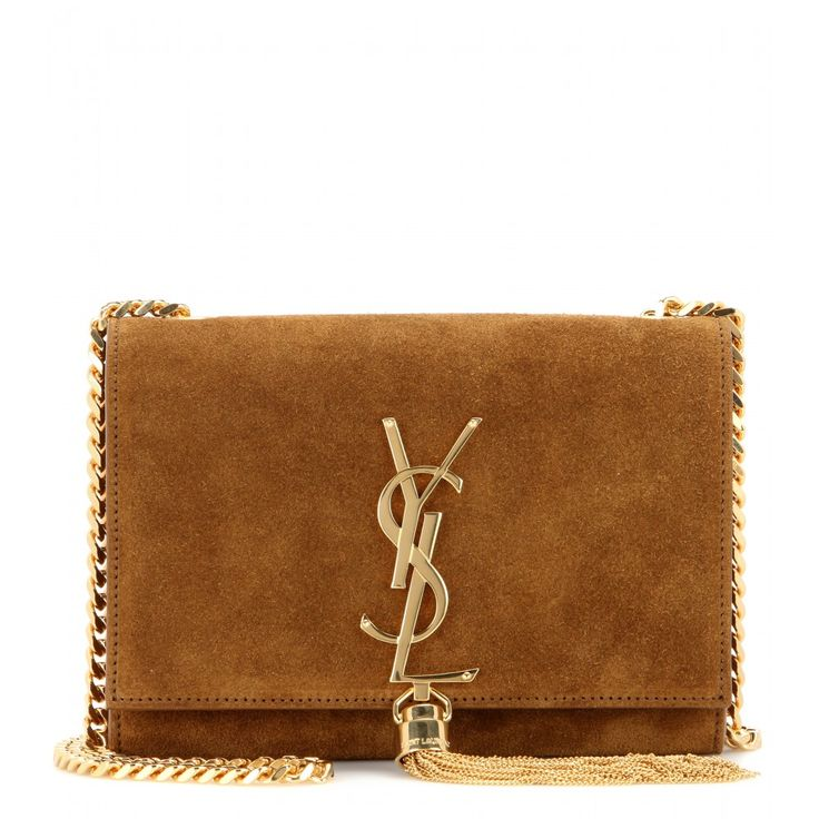 Saint Laurent - Classic Small Monogramme suede shoulder bag - Timeless elegance is a savvy investment. Featuring a gold-toned chain strap, tassel and signature YSL logo, the 'Classic Monogramme' shoulder bag embodies the traditional Saint Laurent aesthetic. This suede style is a refined finishing touch to any evening ensemble. seen @ www.mytheresa.com