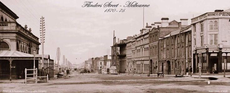 One of the earliest photos we have in our collection of Flinders Street. This image is looking in a westerly direction taken from the corner of Swanston Street. The newly built Fish Market can be seen on the left and the Princes Bridge Hotel on the right.   During the early 1890's, the fish market moved down to a magnificent purpose-built (and sadly demolished in 1959) Gothic building on the Spencer Street corner. The former fish market building then became Hanton's Fresh Fruit and Vegetable…