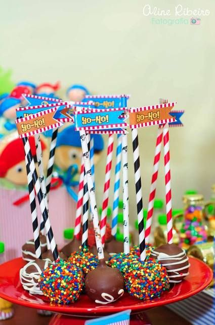 Colorful cake pops at a Jake And The Neverland Pirates Birthday Party! See more party ideas at CatchMyParty.com!