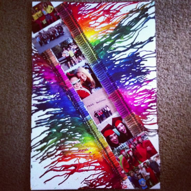 Melted crayon art with pictures