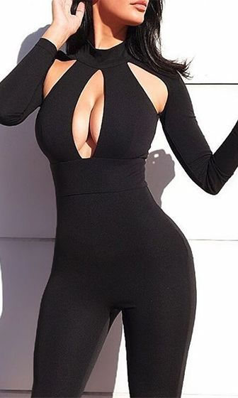 Cat Fight Black Long Sleeve Cut Out Keyhole Bodycon Jumpsuit