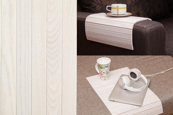 Sofa Tray Table White Tray Table Wooden Coffee Table Lap Desk Small Spaces Wooden Tray Sofa Arm Table Gift For Mum Moving Affiliate