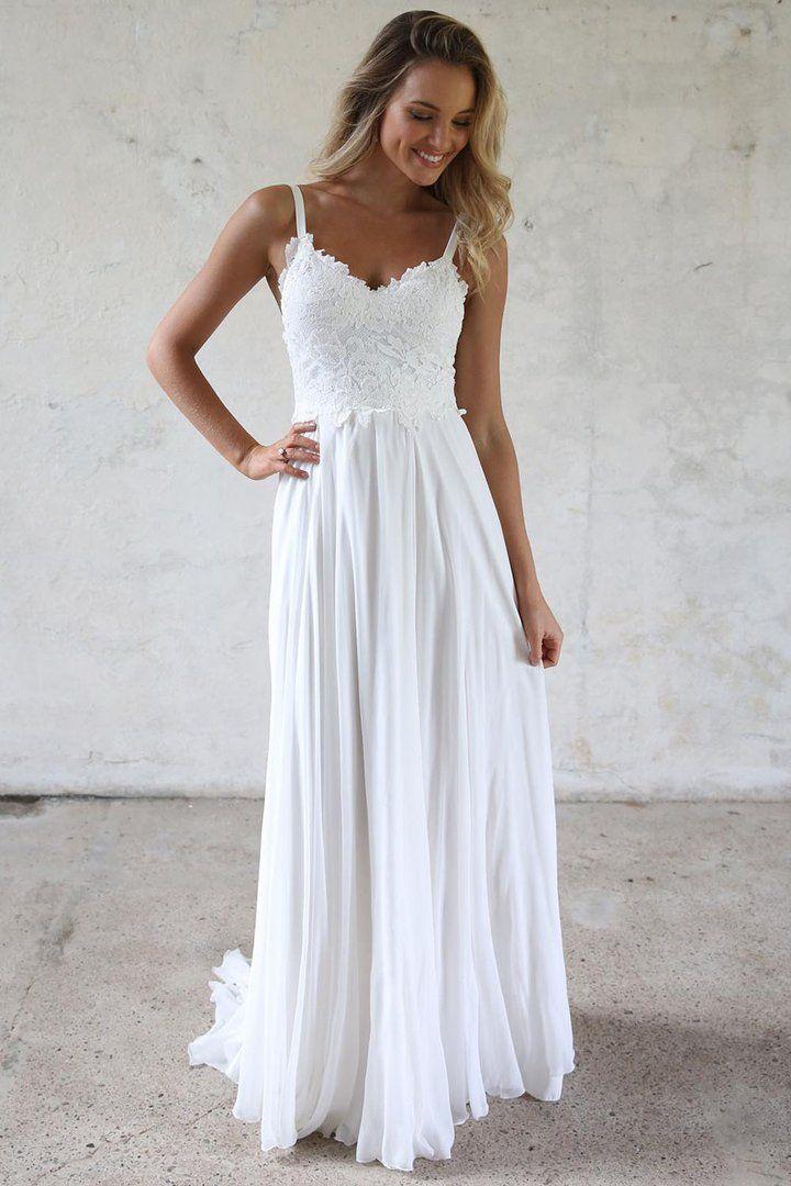 2d16250a76 A-line Spaghetti Straps Lace Top Beach Wedding Dresses in 2019 ...
