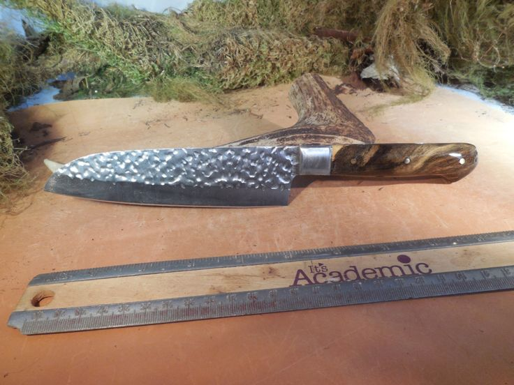 Santoku Chef and Camping Knife Buckeye Burl wood handle. by EricsCustomKnives on Etsy