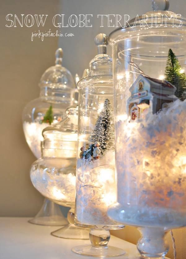 Jars with Winter Scenes and Lights