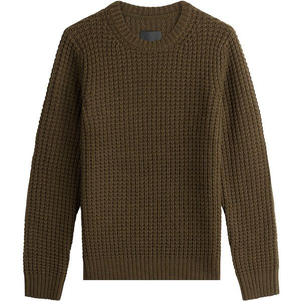 Vince Wool-Cashmere Waffle Knit Pullover (605 CAD) ❤ liked on Polyvore featuring tops, sweaters, green, brown sweater, chunky wool sweater, wool sweaters, woolen sweater and brown cashmere sweater