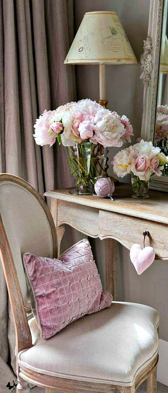 Ladies writing desk.... soft neutral colors make this an inviting place to sit…