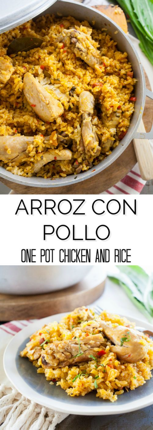 Arroz con pollo is a classic Puerto Rican comfort food inspired by Spanish paella. Seasoned with a base of sofrito it's all the comforts of home.