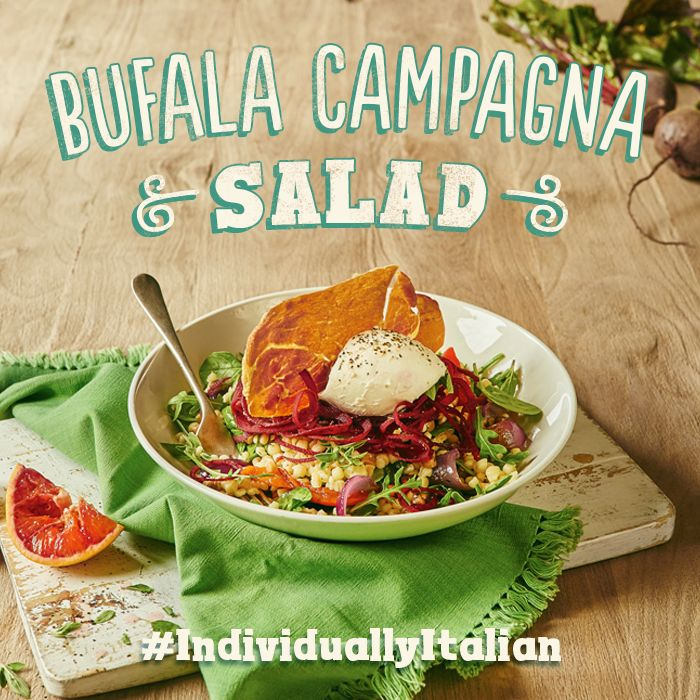 A whole ball of bufala mozzarella, Sardinian Fregola pasta pearls, crispy prosciutto, fire roasted peppers, roasted red onions, beetroot, spinach, rocket & a blood orange dressing. #IndividuallyItalian