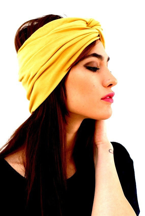 totally digging hair turbans right now. check out BABOOSHKA Marigold Yellow Luxxe Turban by BabooshkaBoutique on etsy