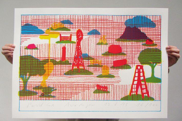 En vente au Studio actuellement,  Paul Cox, Aire de jeu, 2015, 50x70cm, 3 couleurs, papier Fedrigoni Freelife Vellum 260g, numérotées et signées, 40 euros