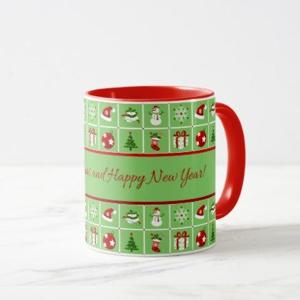 New Year pattern. Color Pictures. 2018. Mug - Xmas ChristmasEve ...