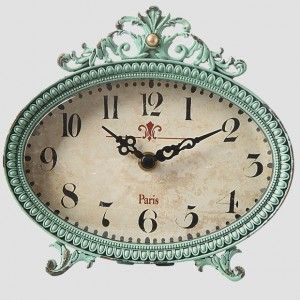 Antique Teal Metal Desk Clock
