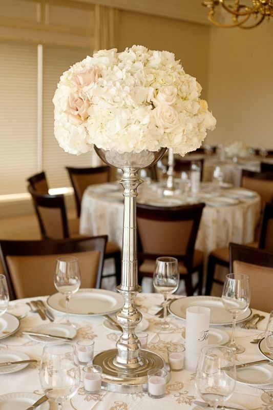 Hydrangea and Rose Centerpiece wedding-decor - love this but in gold with blush and cream flowers