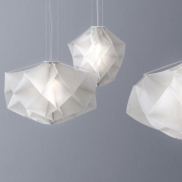 Modern Suspension Albedo Diam 101cm , Diffuser In White Fabric, Machine  Washable. Metal Structure