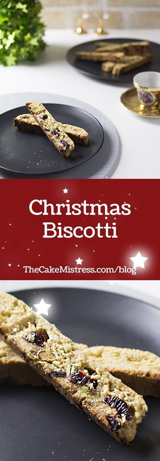 Learn how to make Christmas Biscotti, with festive flavours of cranberry, pistachio, almond and white chocolate #baking #recipe #Christmas #biscotti