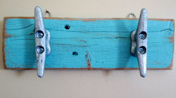 Turquoise Boat Cleat Hooks Nautical Decor by StarfishEnterprises