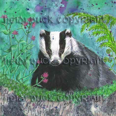 European Badger Greetings Card