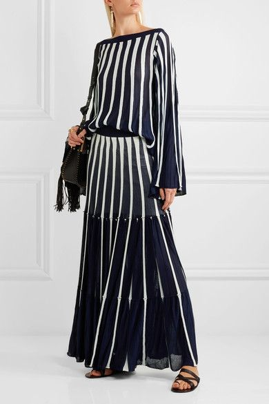 Chloé - Pleated Stretch-knit Top - Navy - x small