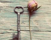 Skeleton key photograph, rustic, peony, flower bud, still life photo, romantic, floral, cottage chic, teal, wall art, feminine, 11x14