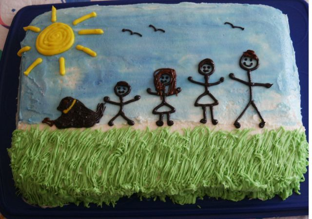 Homemade happy father's day cake with family theme.PNG
