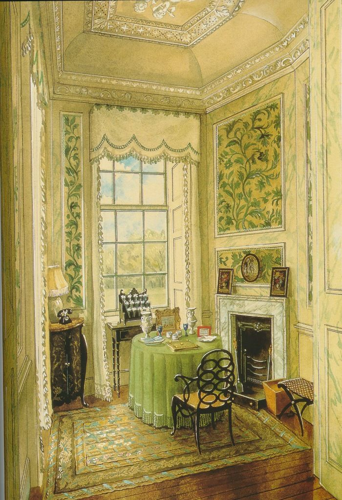 writing room at ditchley park nancy lancaster watercolor by alexandre serebriakoff 1948. Black Bedroom Furniture Sets. Home Design Ideas