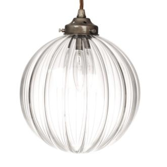 A full circular ribbed glass pendant made by Jim Lawrence (£105)