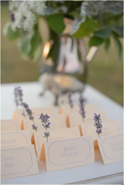 Lavender name cards.
