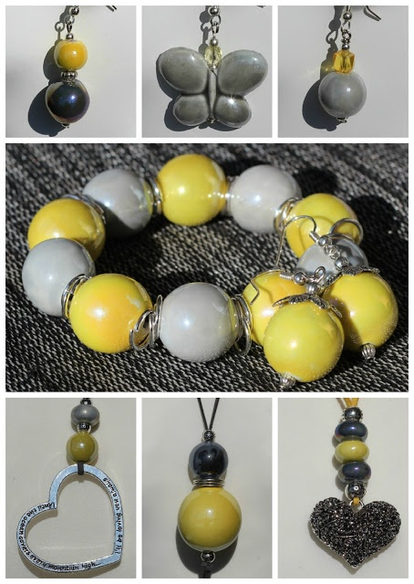 Yellow and grey ceramic jewelry.