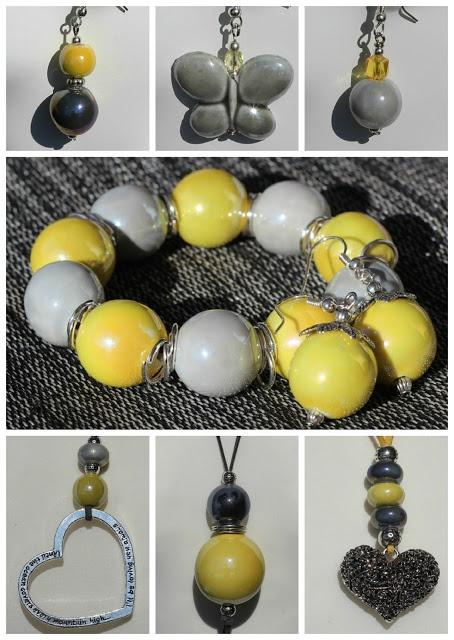 Yellow and grey ceramic jewelry.