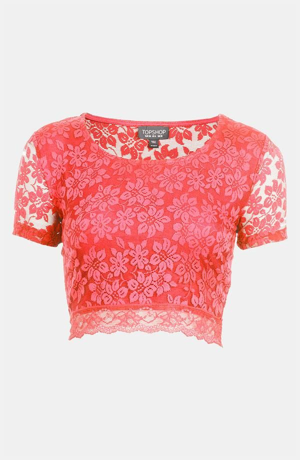 Pink lace crop top.