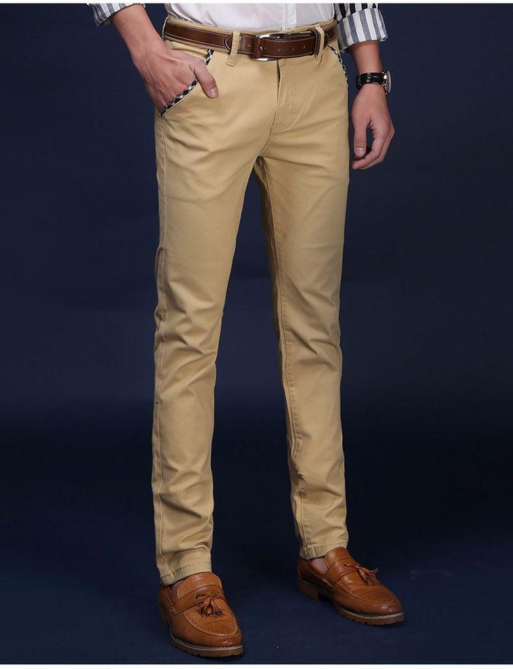 Drizzte Marca Hombres Pantalones De Algodón Elástico Suave Vestido de Chino Pantalones Casual Pantalones Tamaño 33 34 36 38 de Color Caqui de Color Beige free shipping worldwide