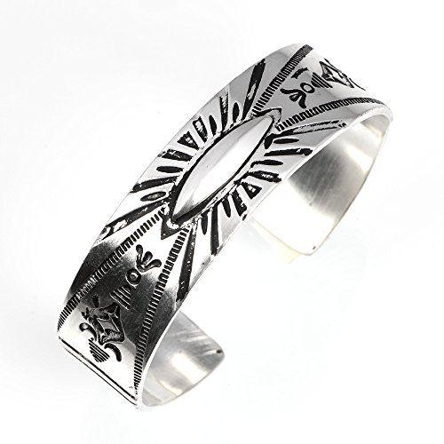 ReiZ ナバホ族のシンボルが刻み込まれた真鍮・ブラス製ネイティブアメリカン・バングル【18mm幅】