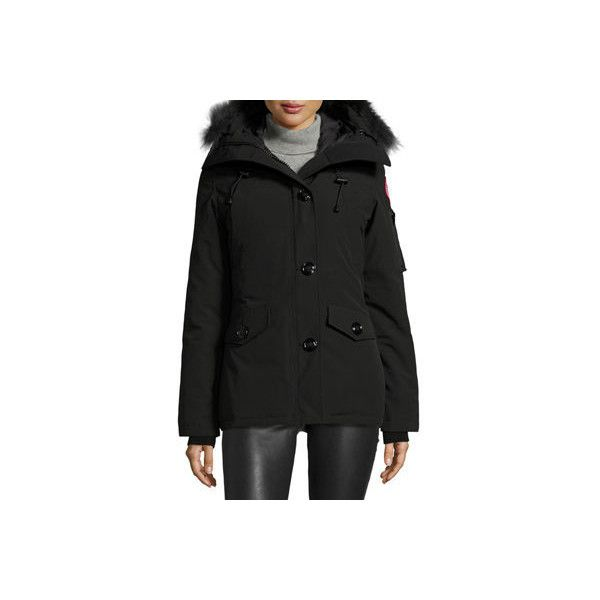 Canada Goose Montebello Parka with Fur Hood ($745) ❤ liked on Polyvore featuring outerwear, coats, black, military coat, fur hood coat, canada goose parka, military style coat and button coat